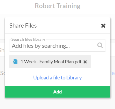 Upload and share meal plan